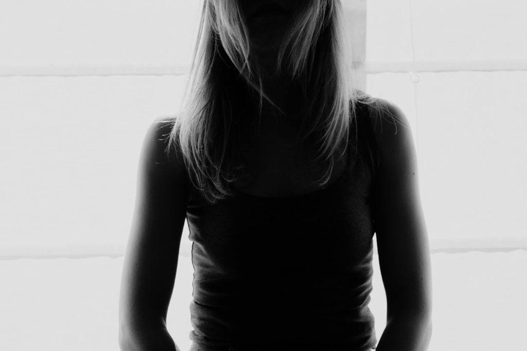 Black and white image of a woman